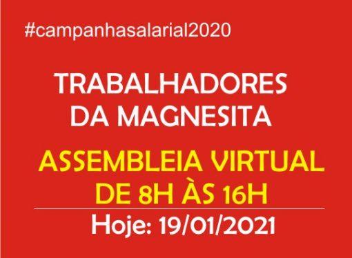 Trabalhadores da Magnesita, em Timóteo, terão  Assembleia Virtual para decidir sobre proposta  da empresa para assinatura do Primeiro ACT